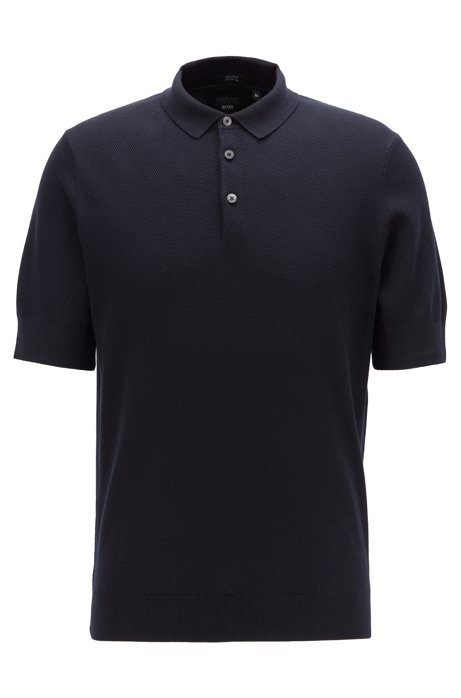 Knitted polo shirt in cotton and silk, Dark Blue