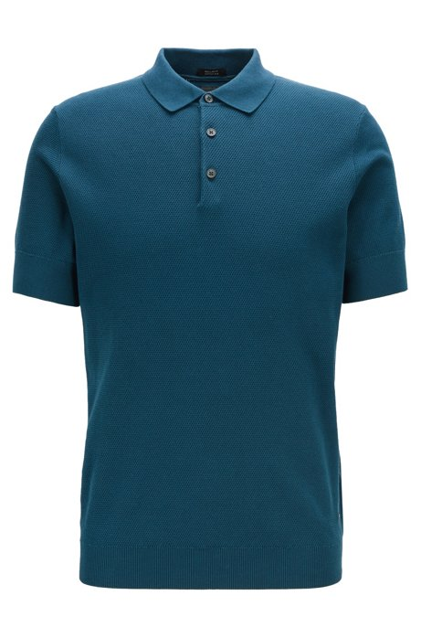 Knitted polo shirt in cotton and silk, Blue