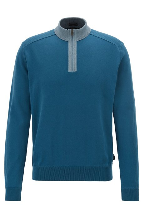 Zip-neck sweater in Italian pima cotton with mouliné details, Blue