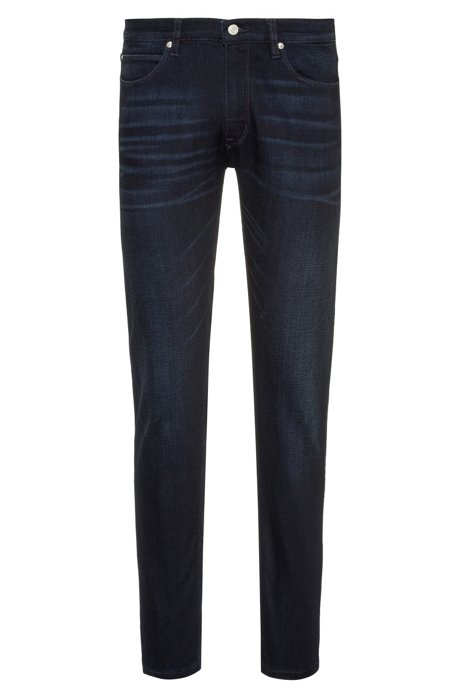 Skinny-fit jeans in dark-blue stretch denim, Dark Blue
