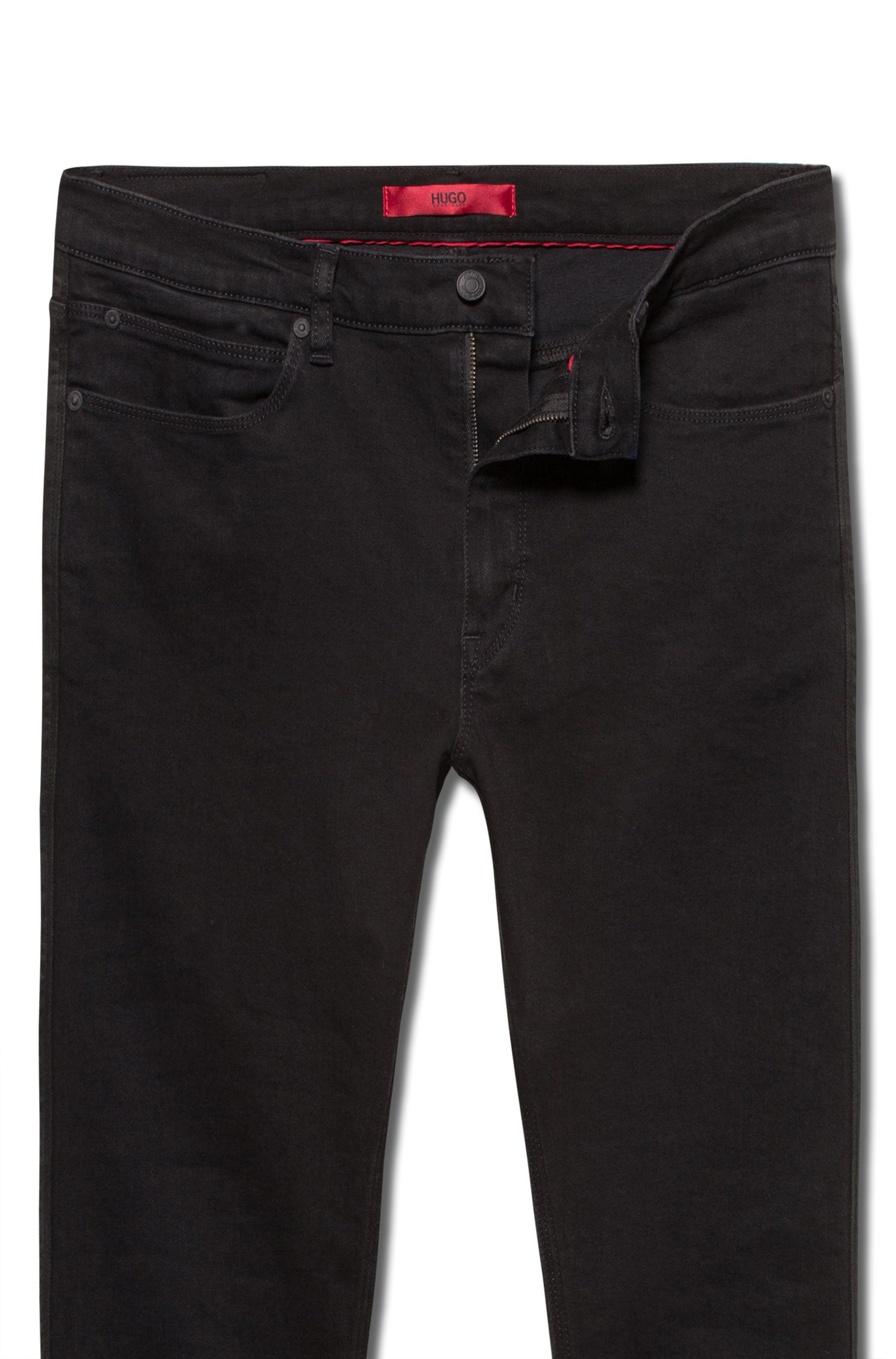 Skinny-fit jeans in deep-black denim, Black
