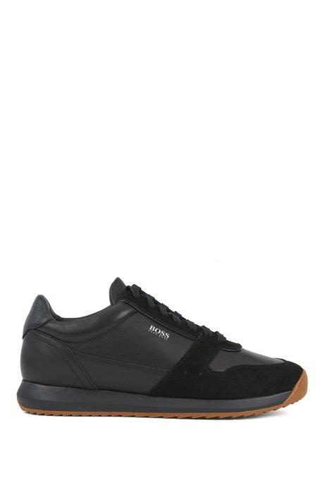 Running-inspired sneakers in mixed leathers, Black