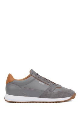 Running-inspired sneakers in mixed leathers, Grey