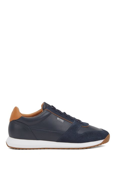 Running-inspired sneakers in mixed leathers, Dark Blue