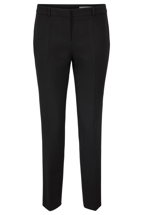 Regular-fit pants in Portuguese double-faced fabric, Black
