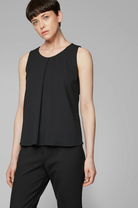 Lightweight sleeveless top in crinkle crepe with pleated front, Black