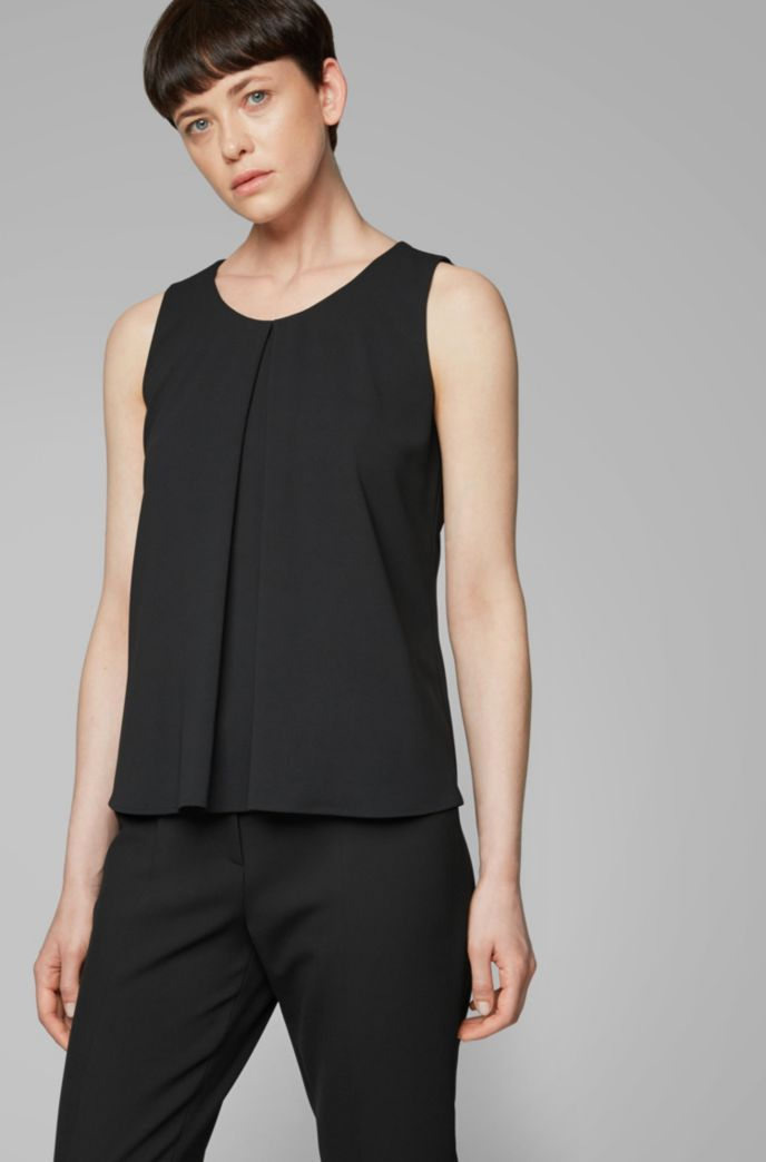Lightweight sleeveless top in crinkle crepe with pleated front