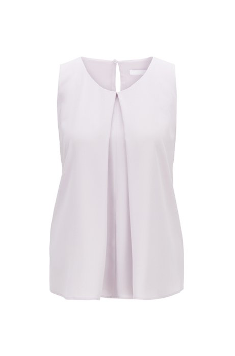 Lightweight sleeveless top in crinkle crepe with pleated front, Light Purple