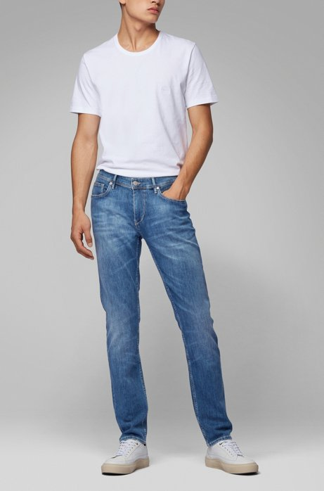 Extra-slim-fit jeans in lightweight Italian stretch denim, Turquoise