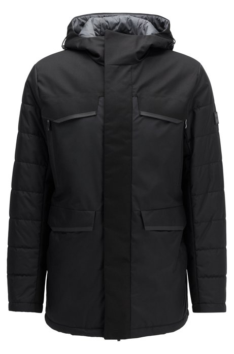 Water-repellent parka jacket in laminated fabric, Black