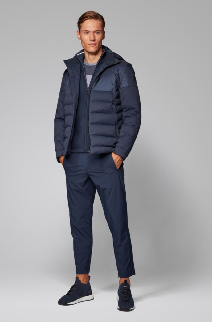Water-repellent down jacket in laminated mixed fabric