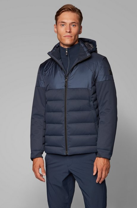 Water-repellent down jacket in laminated mixed fabric, Dark Blue
