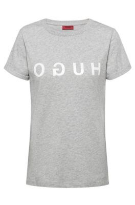 Reverse-logo T-shirt in jersey with turn-up sleeves, Grey