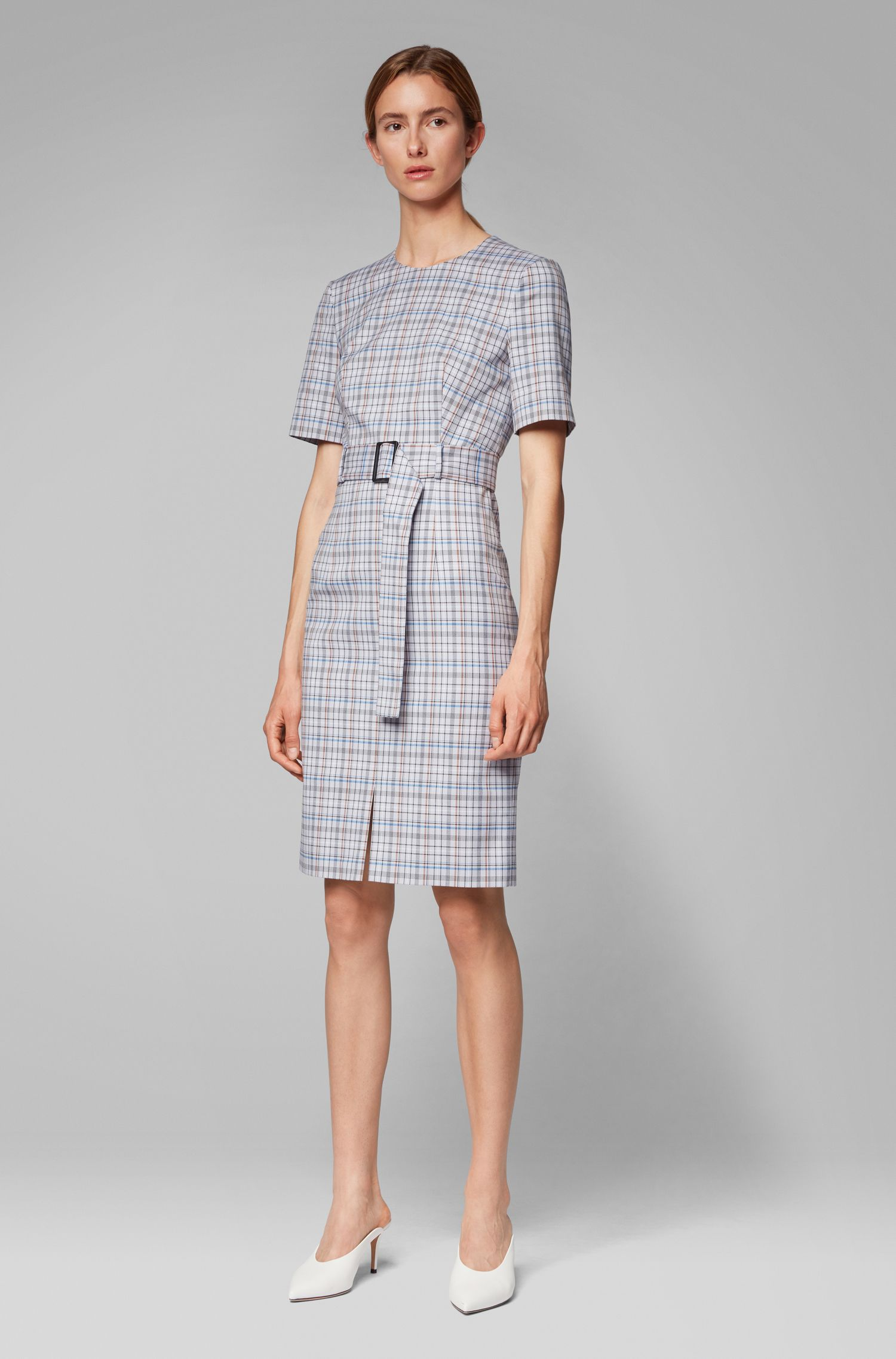 Short-sleeved shift dress in checked Italian fabric, Patterned