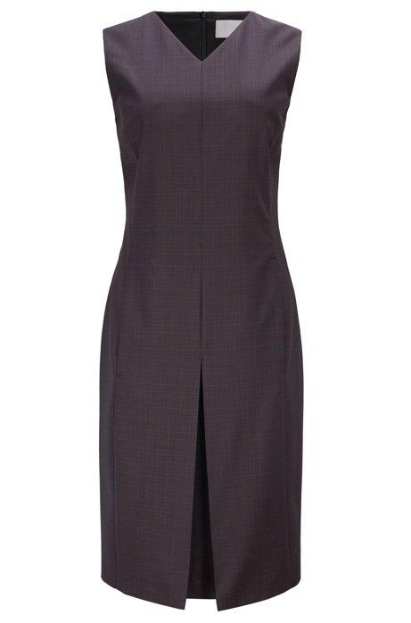 Sleeveless shift dress in checkered Italian virgin wool, Patterned