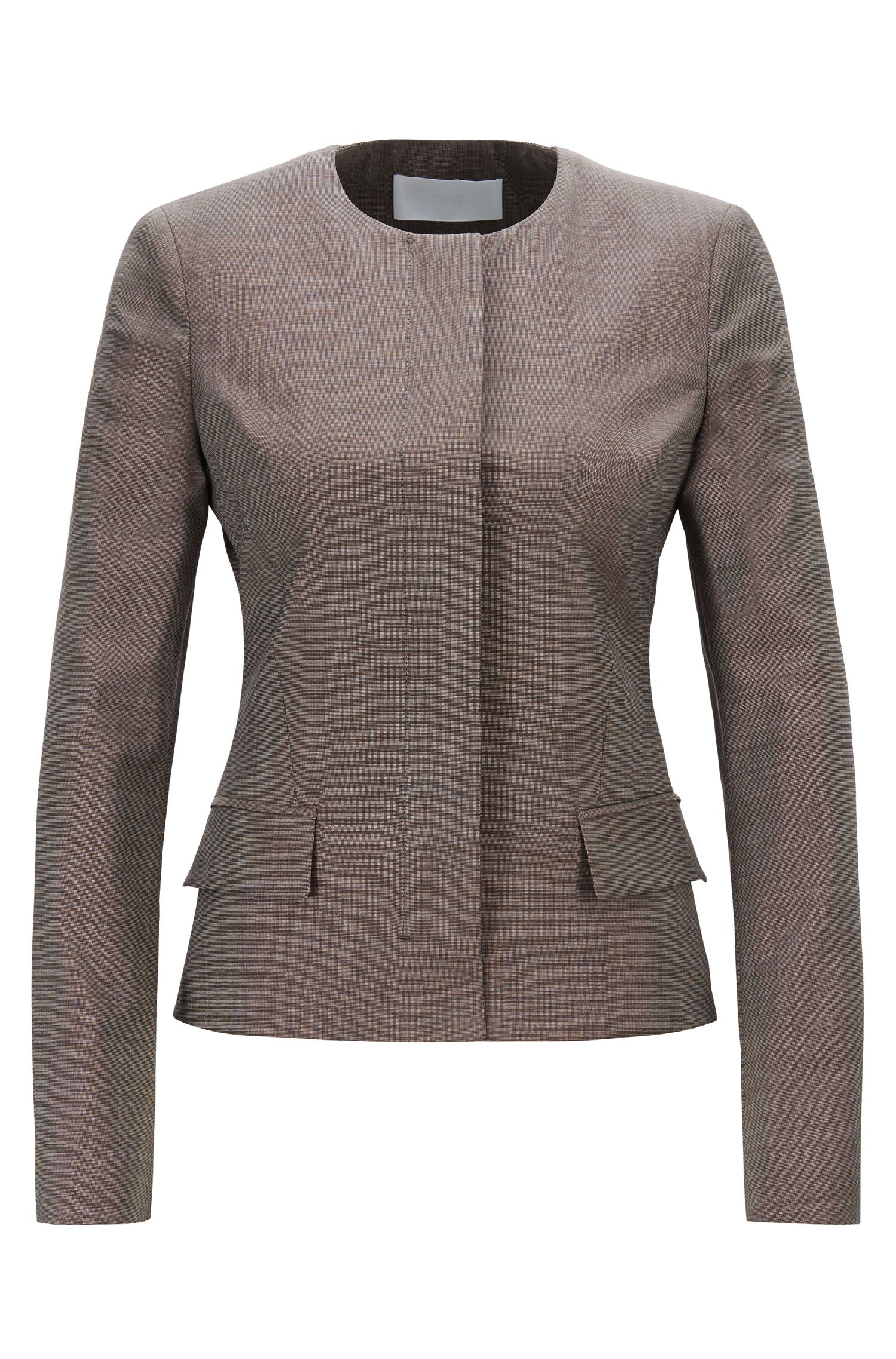 Regular-fit collarless jacket in Italian wool, Patterned