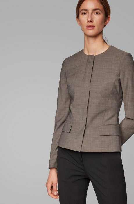 Regular-fit collarless jacket in Italian wool, Patterned