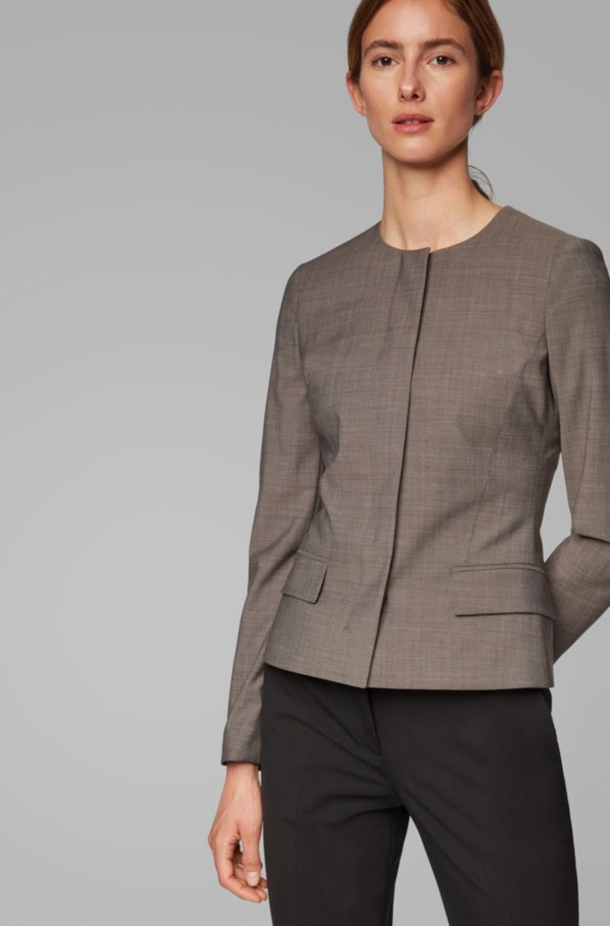 Regular-fit collarless jacket in Italian wool