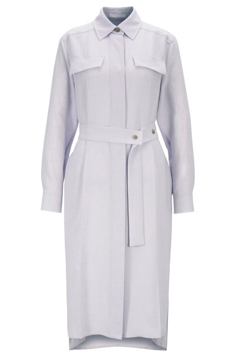 Long-length melange shirt dress with concealed placket, Light Purple