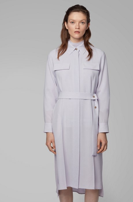 Long-length melange shirt dress with concealed placket, Light Purple