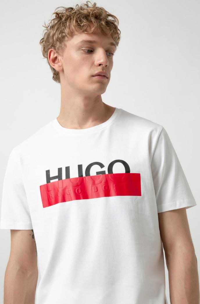 Cotton T-shirt with reworked cropped logo
