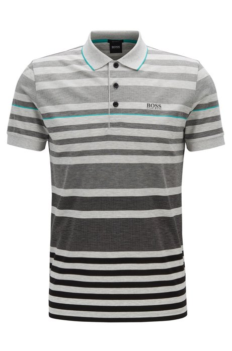 Striped polo shirt in cotton piqué, Black