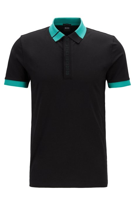 Slim-fit polo shirt with logo placket and S.Café®, Black