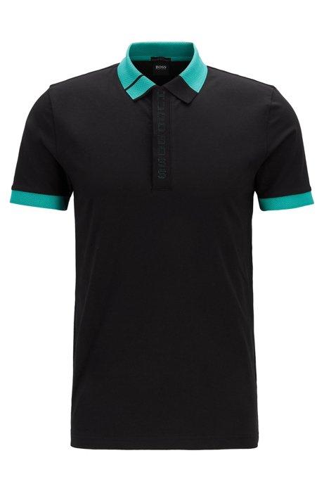 Slim-fit polo shirt with logo placket and S.Café®, Black