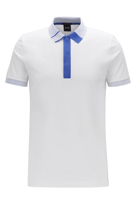 Slim-fit polo shirt with logo placket and S.Café®, White