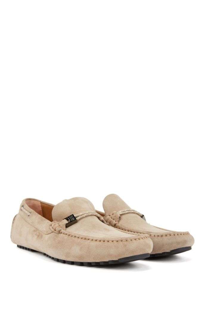 Italian-made moccasins in suede with cord details