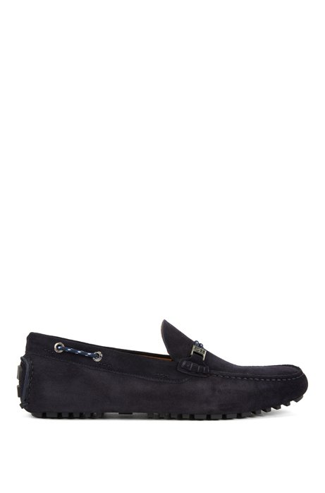 Italian-made moccasins in suede with cord details, Dark Blue