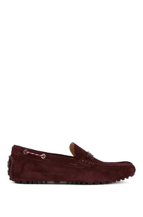 Italian-made moccasins in suede with cord details, Dark Red