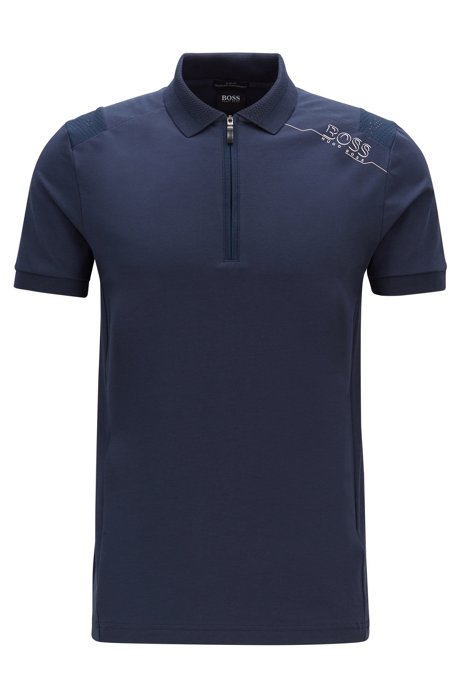 Slim-fit polo shirt with S.Café® and perforated panels, Dark Blue