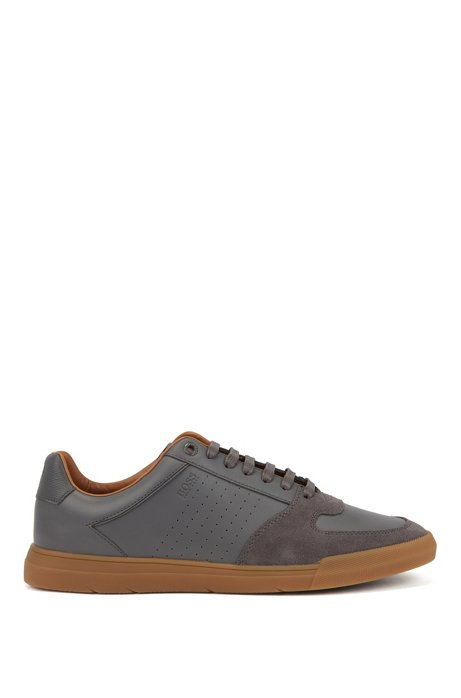 Low-top sneakers in suede and nappa leather, Grey