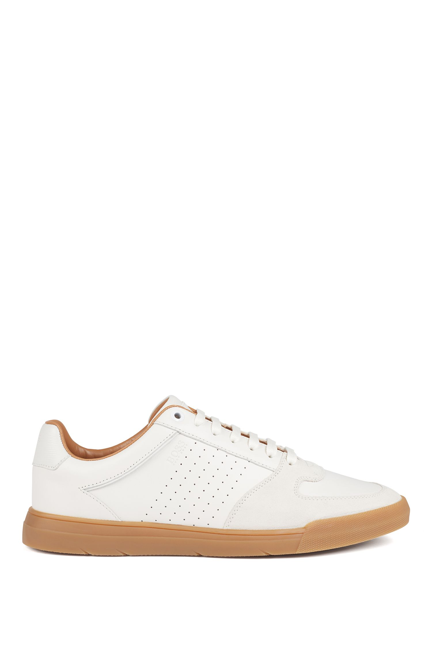 Low-top sneakers in suede and nappa leather, White