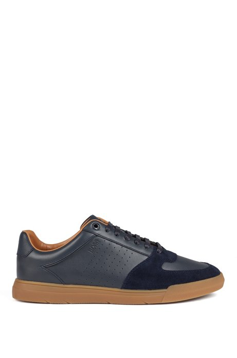 Low-top sneakers in suede and nappa leather, Dark Blue