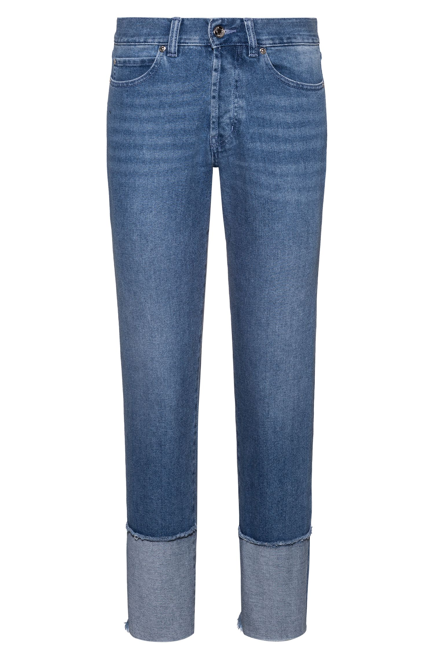 Cropped regular-fit jeans with open frayed hems, Turquoise
