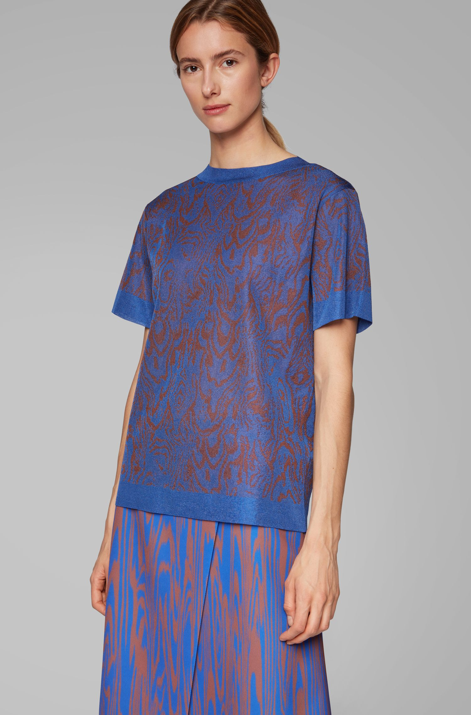 Relaxed-fit sweater in knitted jacquard with short sleeves, Patterned