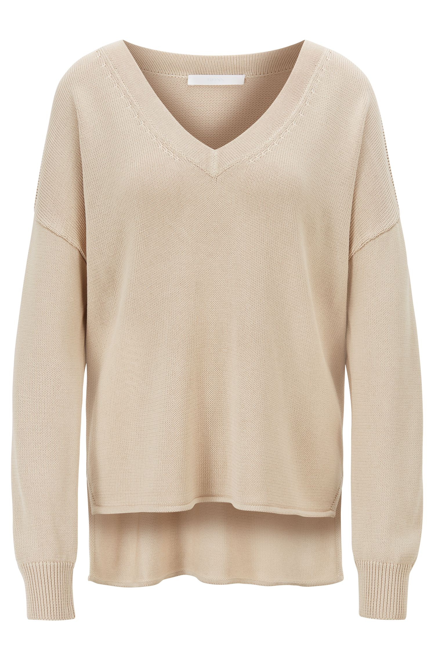 Relaxed-fit knitted sweater with V neckline, Light Beige