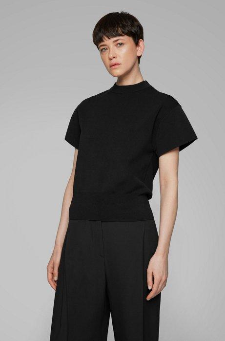 Short-sleeved sweater with mock neckline, Black