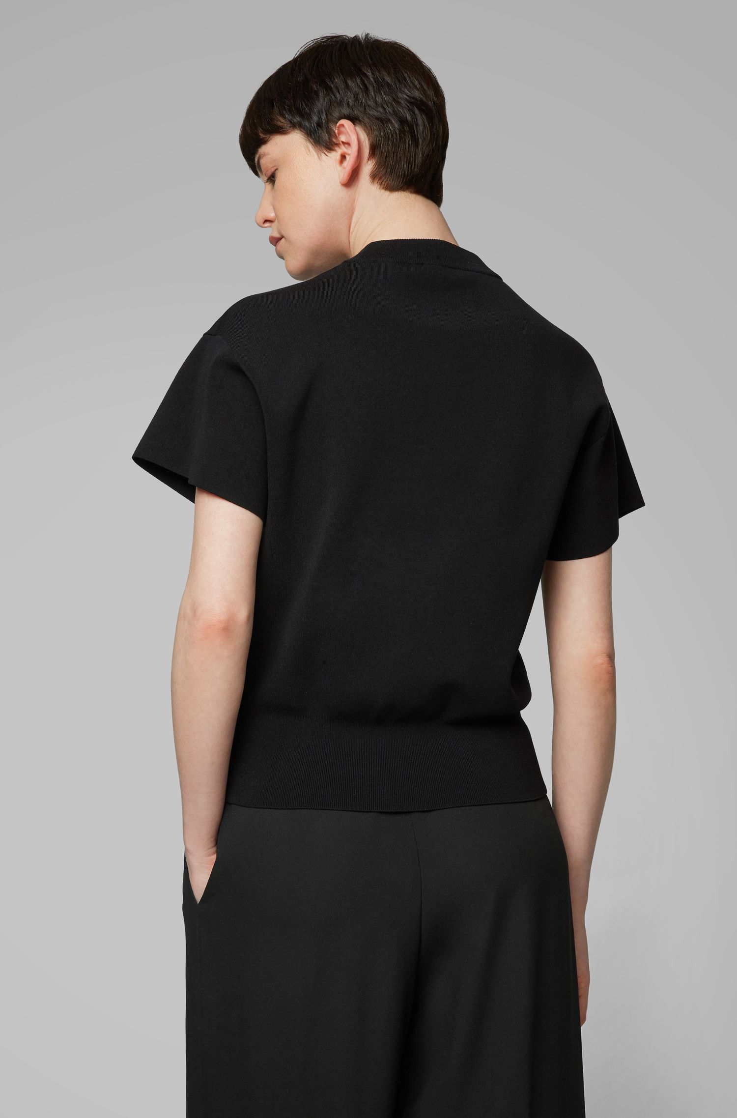 Short-sleeved sweater with mock neckline, Black