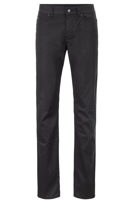 Slim-fit jeans in crease-resistant stretch fabric, Black