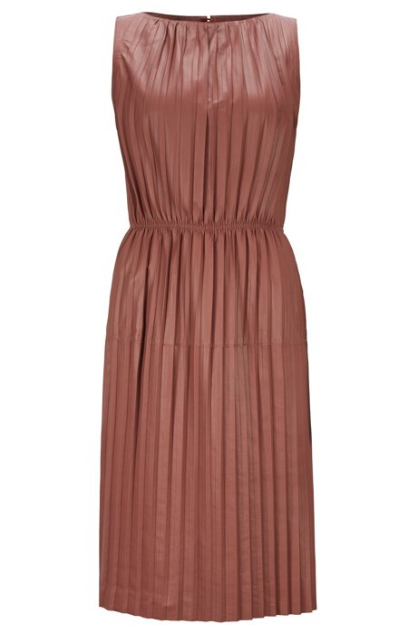 Sleeveless shift dress in plissé lamb leather, Brown