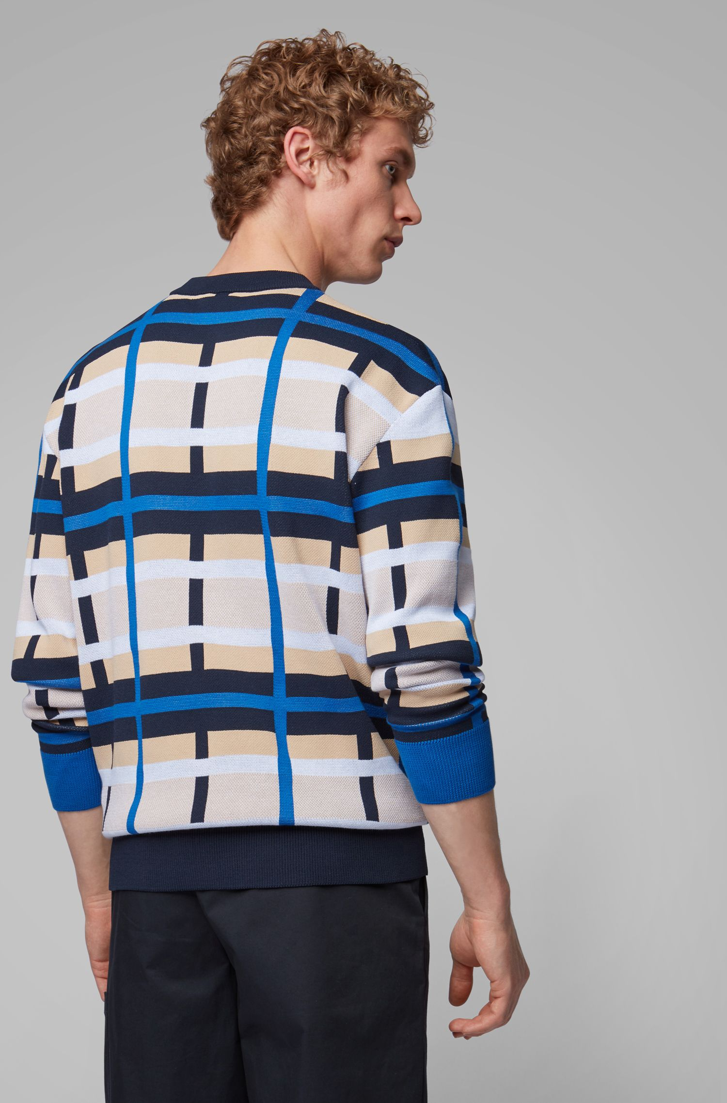 Knitted sweater with multi-color pattern, Blue