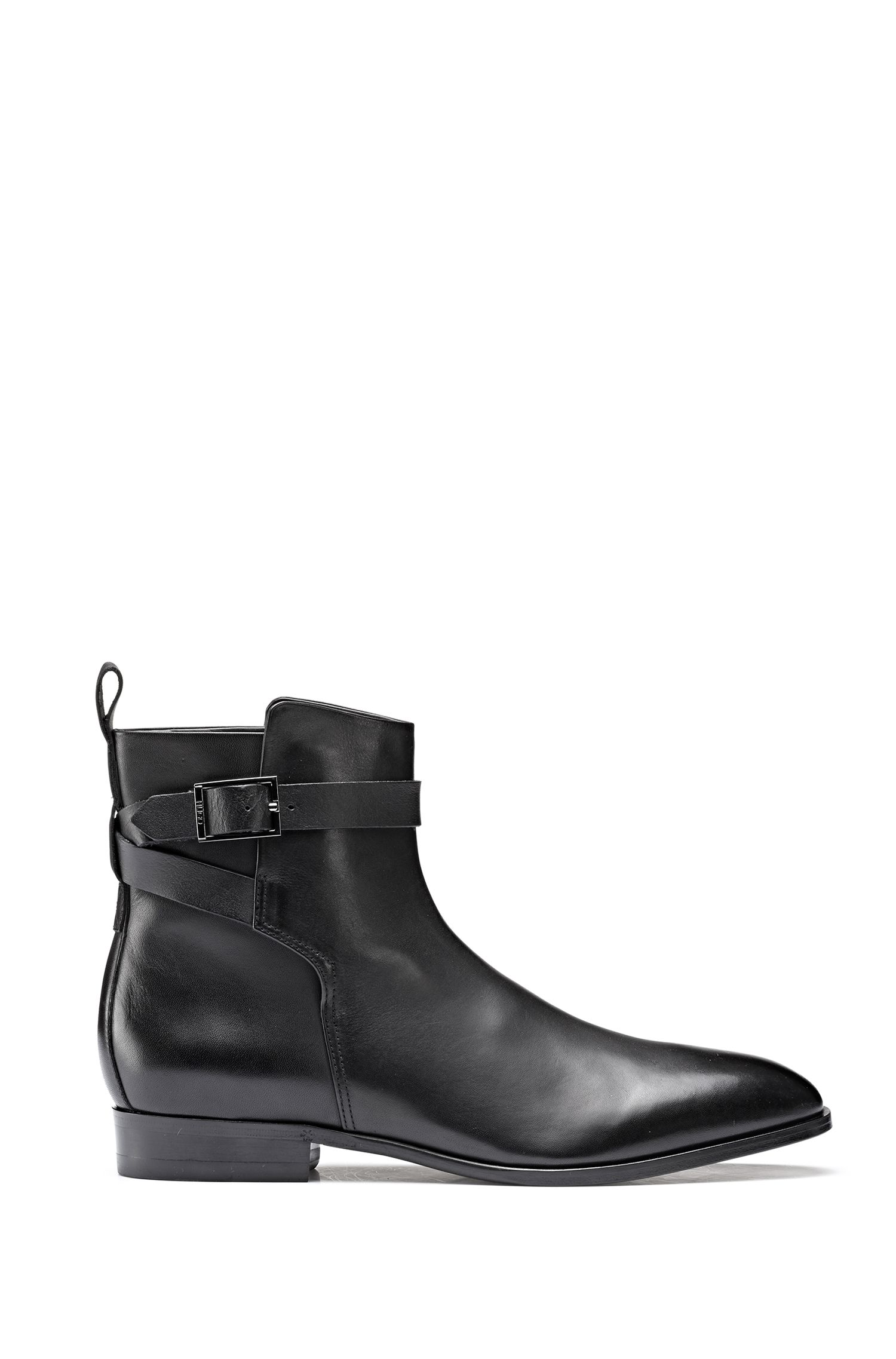 Leather Chelsea boots with buckled ankle strap, Black