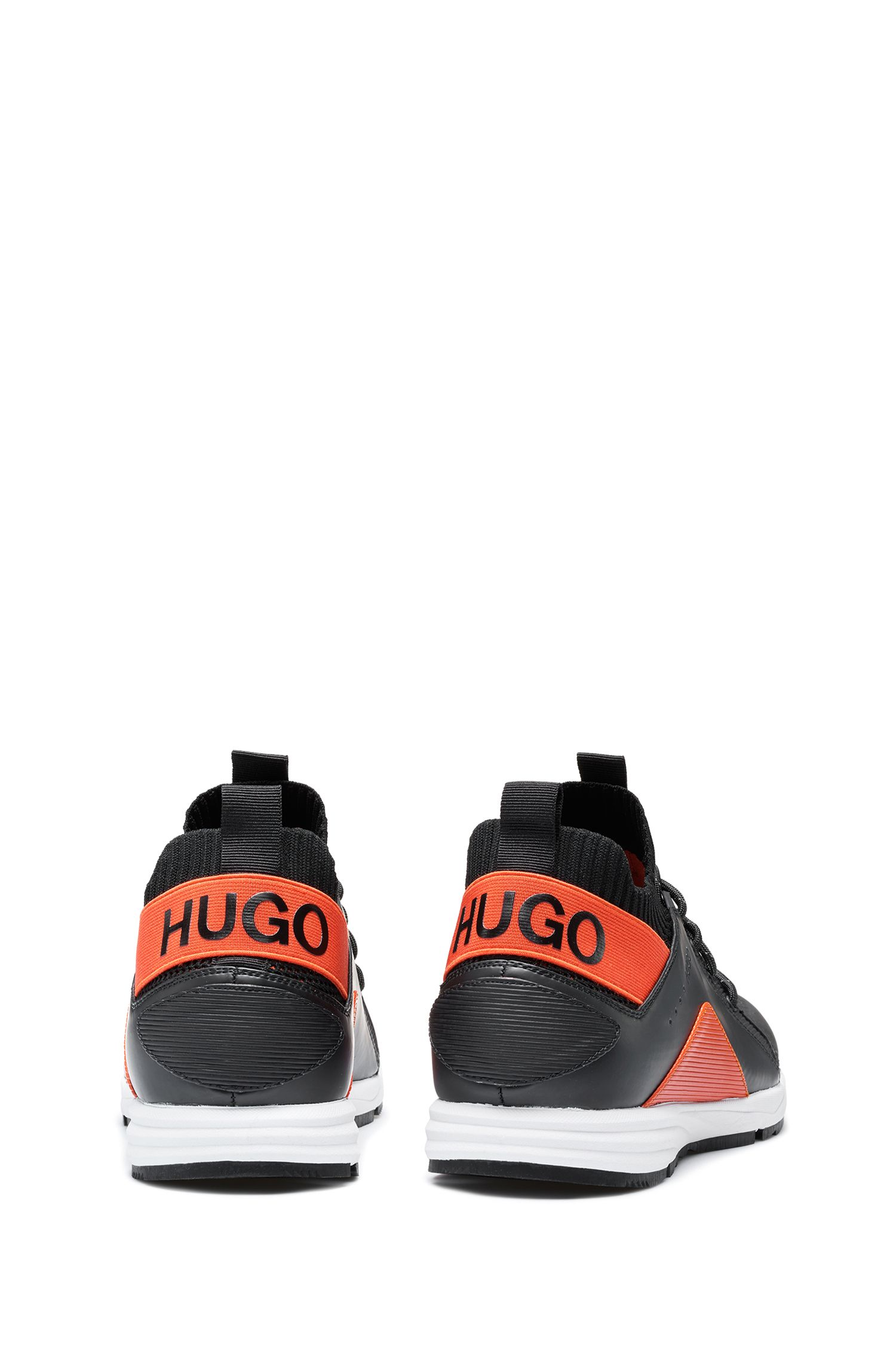 Hybrid colour-block trainers with knitted sock, Black