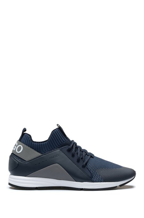 Hybrid colour-block trainers with knitted sock, Dark Blue