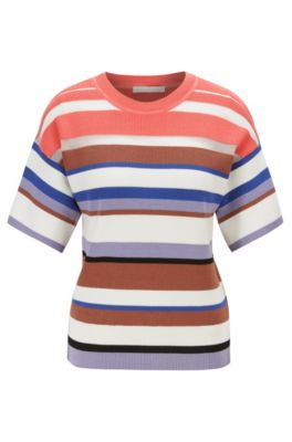 Short-sleeved knitted sweater with multi-colored stripes, Patterned