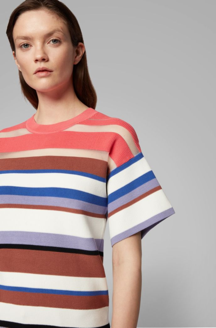 Short-sleeved knitted sweater with multi-colored stripes