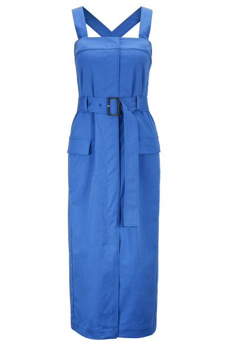 Midi dress in stretch cotton with removable shoulder straps, Blue